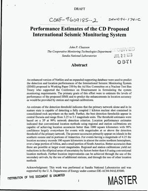 Primary view of object titled 'Performance estimates of the CD proposed international seismic monitoring system'.