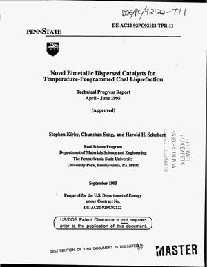 Primary view of object titled 'Novel bimetallic dispersed catalysts for temperature-programmed coal liquefaction. Technical progress report, April--June 1995'.