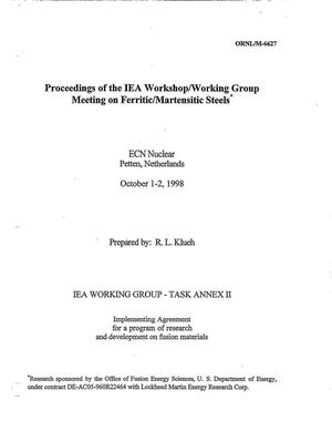 Primary view of object titled 'Proceedings of the IEA Workshop/Working Group Meeting on Ferritic/Martensitic Steels'.