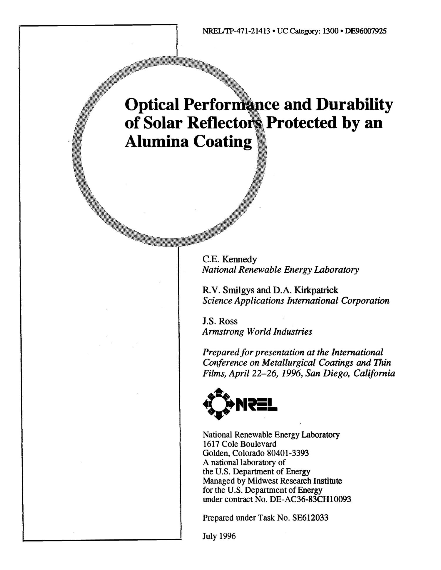 Optical performance and durability of solar reflectors protected by an alumina coating                                                                                                      [Sequence #]: 1 of 20