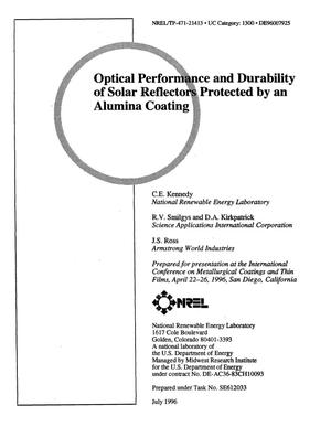 Primary view of object titled 'Optical performance and durability of solar reflectors protected by an alumina coating'.