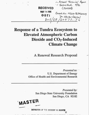 Primary view of object titled 'Response of a tundra ecosystem to elevated atmospheric carbon dioxide and CO{sub 2}-induced climate change. Annual technical report'.