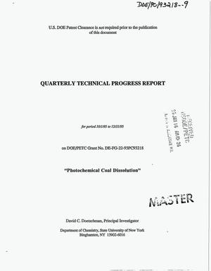 Primary view of object titled 'Photochemical coal dissolution. Quarterly technical progress report, October 1, 1995--December 31, 1995'.
