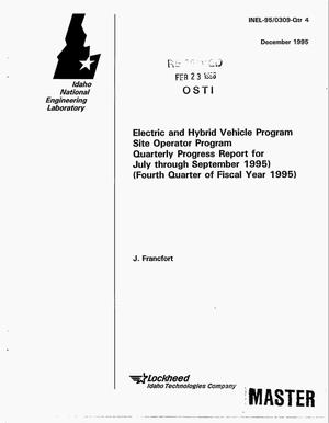 Primary view of object titled 'Electric and Hybrid Vehicle Program: Site Operation Program. Quarterly progress report, July--September 1995'.