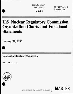 Primary view of object titled 'U.S. Nuclear Regulatory Commission organization charts and functional statements. Revision 19'.