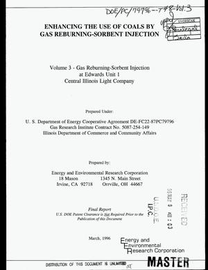 Primary view of object titled 'Enhancing the use of coals by gas reburning-sorbent injection: Volume 3 -- Gas reburning-sorbent injection at Edwards Unit 1, Central Illinois Light Company. Final report'.