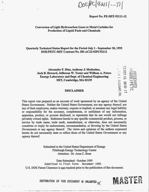 Primary view of object titled 'Conversion of light hydrocarbon gases to metal carbides for production of liquid fuels and chemicals. Quarterly technical status report, July 1, 1995--September 30, 1995'.