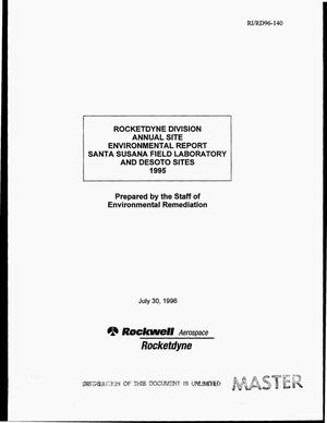 Primary view of object titled 'Rocketdyne Division annual site environmental report Santa Susana Field Laboratory and Desoto sites 1995'.