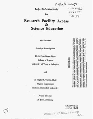 Primary view of object titled 'Project definition study for research facility access and science education'.