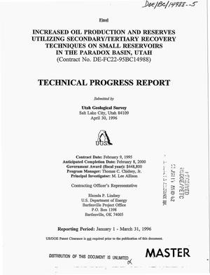 Primary view of object titled 'Increased oil production and reserves utilizing secondary/tertiary recovery techniques on small reservoirs in the Paradox Basin, Utah. Technical progress report, January 1--March 31, 1996'.