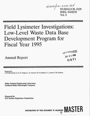 Primary view of object titled 'Field lysimeter investigations: Low-level waste data base development program for fiscal year 1995. Volume 8, Annual report, October 1994-- September 1995'.