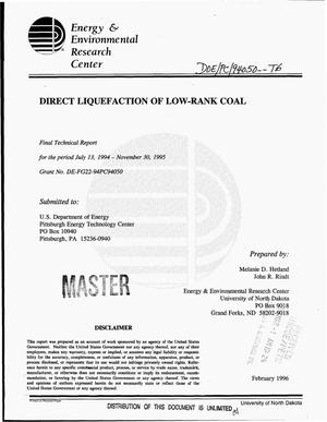 Primary view of object titled 'Direct liquefaction of low-rank coal. Final technical report, July 13, 1994--November 30, 1995'.