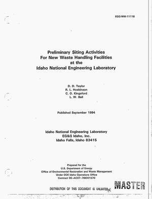 Primary view of object titled 'Preliminary siting activities for new waste handling facilities at the Idaho National Engineering Laboratory'.