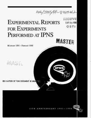 Primary view of object titled 'Intense Pulsed Neutron Source: Progress report 1991--1996. 15. Anniversary edition -- Volume 2'.