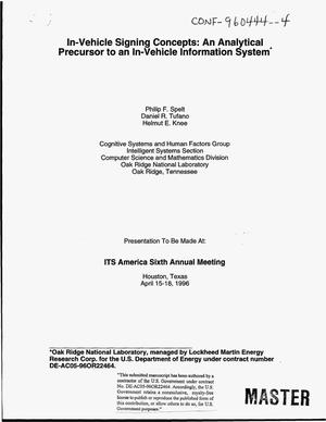 Primary view of object titled 'In-vehicle signing concepts: An analytical precursor to an in-vehicle information system'.