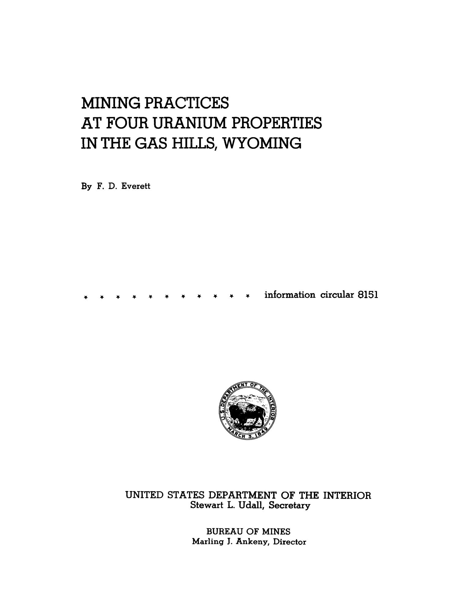Mining Practices at Four Uranium Properties in the Gas Hills, Wyoming                                                                                                      Title Page