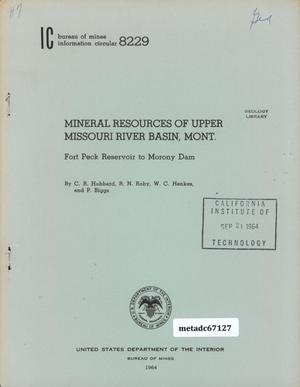 Primary view of object titled 'Mineral Resources of Upper Missouri River Basin, Montana: Fort Peck Reservoir to Morony Dam'.