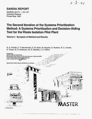 Primary view of object titled 'The second iteration of the Systems Prioritization Method: A systems prioritization and decision-aiding tool for the Waste Isolation Pilot Plant: Volume 1, Synopsis of method and results'.