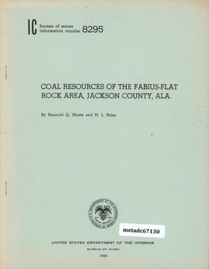 Coal Resources of the Fabius-Flat Rock Area, Jackson Countym Alabama