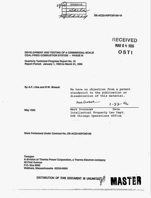 Primary view of object titled 'Development and testing of a commercial-scale coal-fired combustion system: Phase 3, Quarterly progress report No. 10, January 1, 1993--March 31, 1993'.
