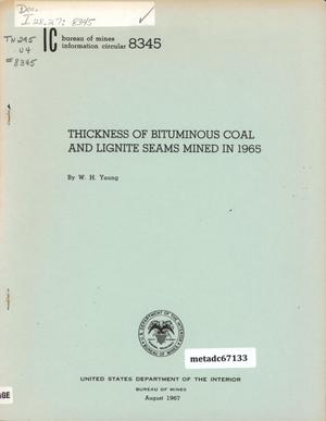 Primary view of object titled 'Thickness of Bituminous Coal and Lignite Seams Mined in 1965'.