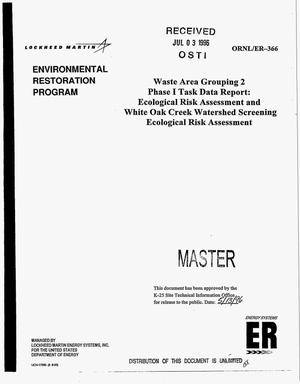 Primary view of object titled 'Waste area grouping 2 Phase I task data report: Ecological risk assessment and White Oak Creek watershed screening ecological risk assessment'.