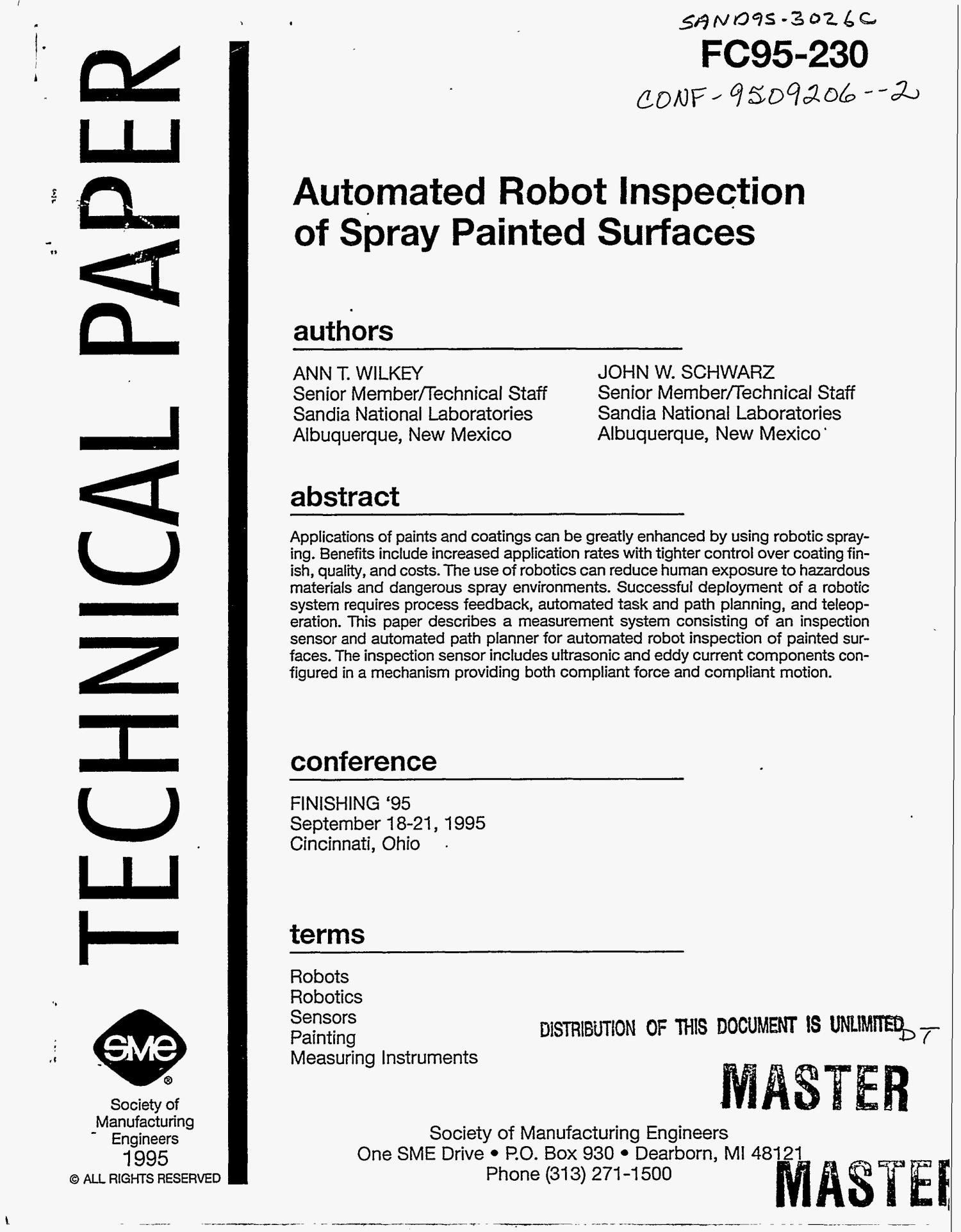 Automated robot inspection of spray painted surfaces                                                                                                      [Sequence #]: 1 of 27