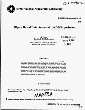 Primary view of object titled 'Object based data access at the D0 experiment'.