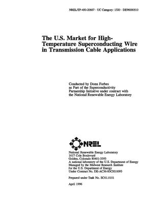 Primary view of object titled 'The US market for high-temperature superconducting wire in transmission cable applications'.