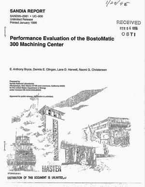 Primary view of object titled 'Performance evaluation of the BostoMatic 300 machining center'.