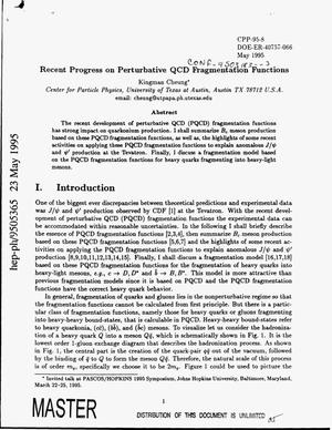 Primary view of object titled 'Recent progress on perturbative QCD fragmentation functions'.