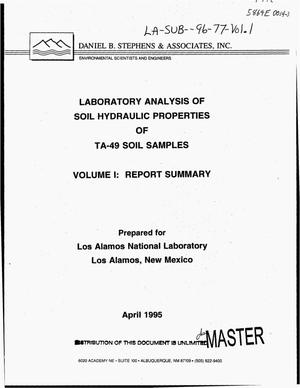 Primary view of object titled 'Laboratory analysis of soil hydraulic properties of TA-49 soil samples. Volume I: Report summary'.