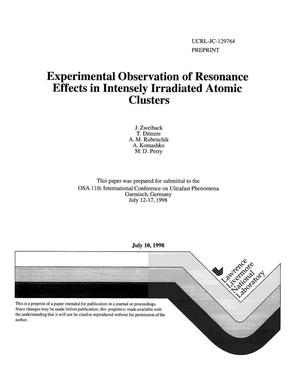 Primary view of object titled 'Experimental observation of resonance effects in intensely irradiated atomic clusters'.