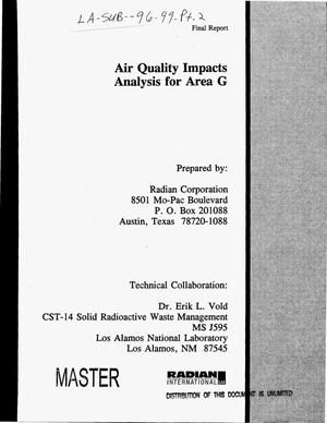 Primary view of object titled 'Air quality impacts analysis for area G. Final report'.