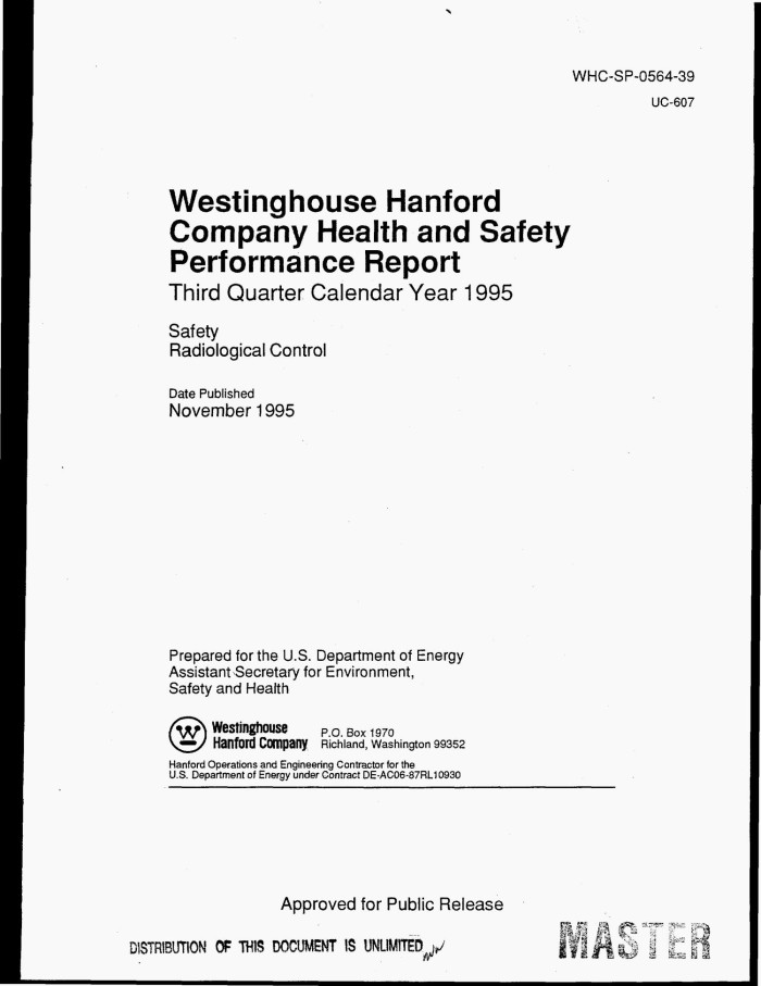 Westinghouse Hanford Company Health And Safety Performance Report