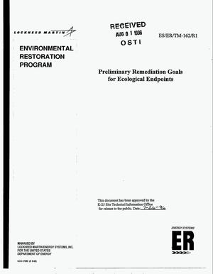 Primary view of object titled 'Preliminary remediation goals for ecological endpoints'.