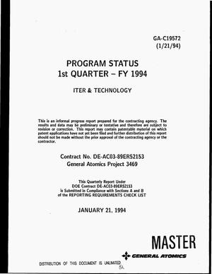 Primary view of object titled 'Program status 1. quarter -- FY 1994: ITER and technology'.
