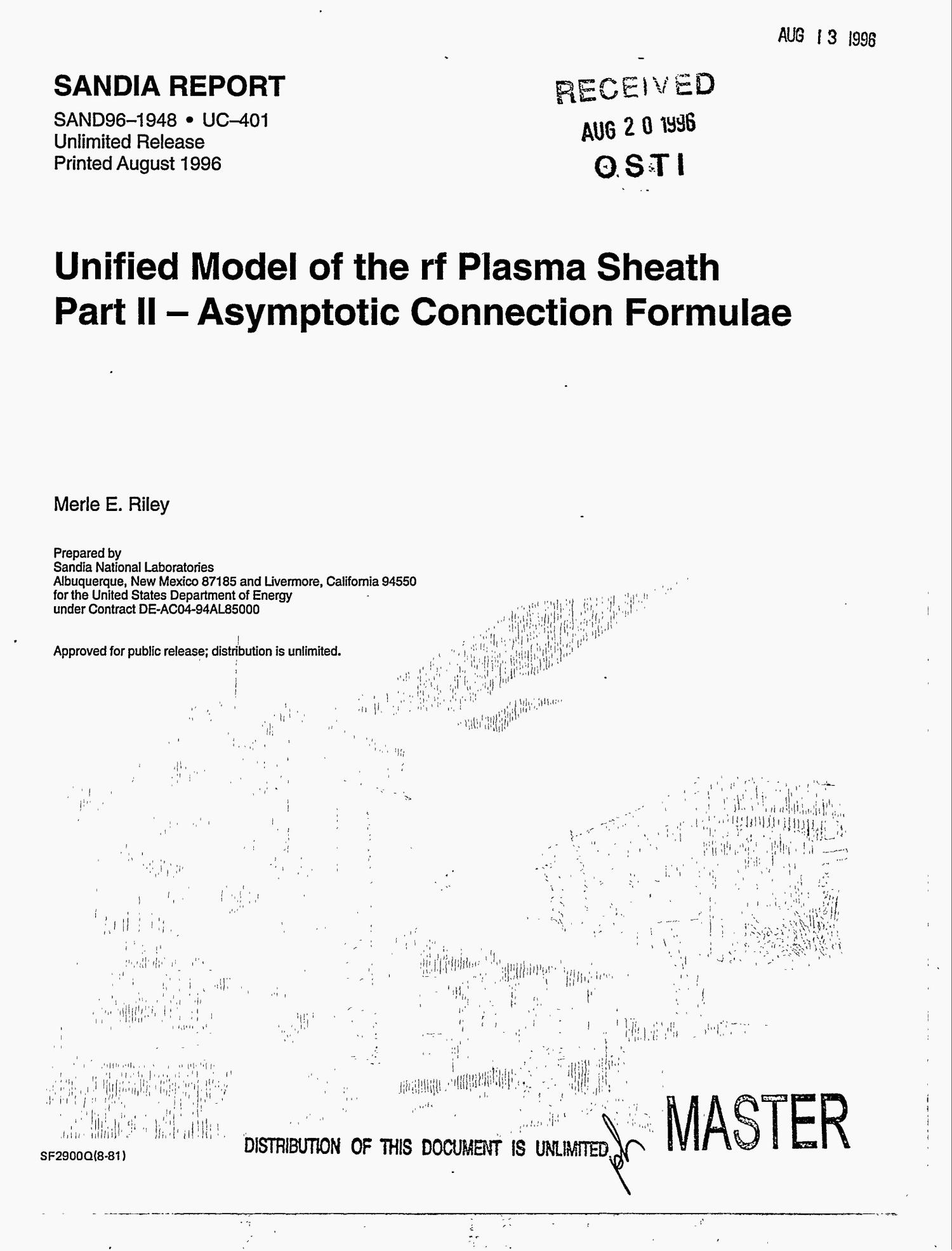 Unified model of the rf plasma sheath: Part 2, Asymptotic connection formulae                                                                                                      [Sequence #]: 1 of 69