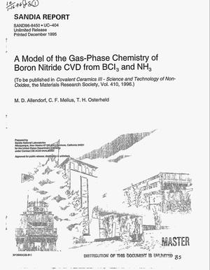 Primary view of object titled 'A model of the gas-phase chemistry of boron nitride CVC from BCl{sub 3} and NH{sub 3}'.