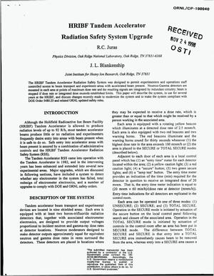 Primary view of object titled 'HRIBF Tandem Accelerator Radiation Safety System Upgrade'.