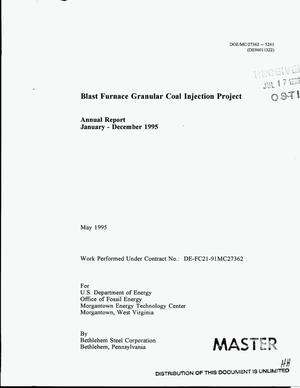 Primary view of object titled 'Blast furnace granular coal injection project. Annual report, January--December 1995'.