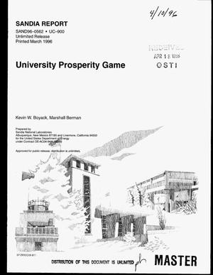 Primary view of object titled 'University Prosperity Game. Final report'.