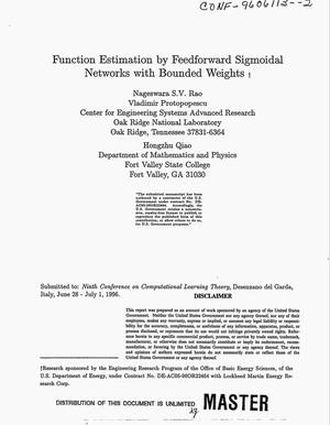 Primary view of object titled 'Function estimation by feedforward sigmoidal networks with bounded weights'.