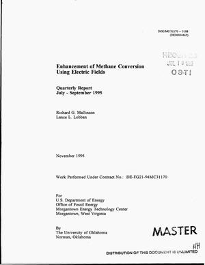 Primary view of object titled 'Enhancement of methane conversion using electric fields. Quarterly report, July--September 1995'.