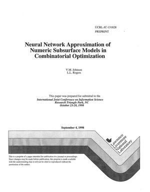 Primary view of object titled 'Neural network approximation of numeric subsurface models in combinational optimization'.