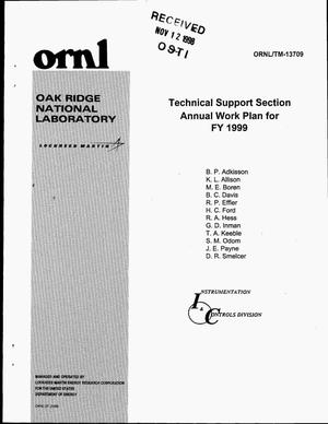 Primary view of object titled 'Technical Support Section Annual Work Plan for FY 1999'.