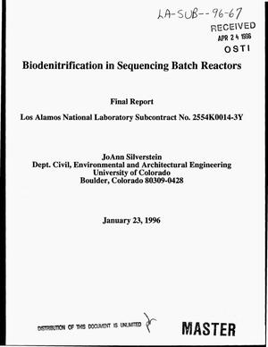 Primary view of object titled 'Biodenitrification in Sequencing Batch Reactors. Final report'.