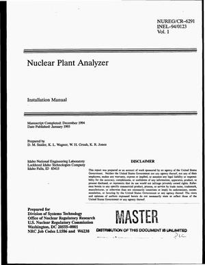 Primary view of object titled 'Nuclear Plant Analyzer: Installation manual. Volume 1'.