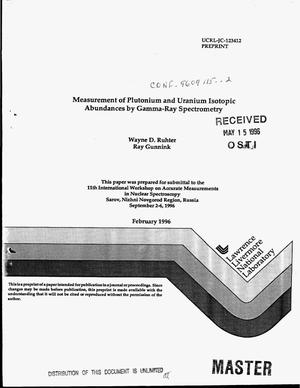 Primary view of object titled 'Measurement of plutonium and uranium isotopic abundances by gamma-ray spectrometry'.