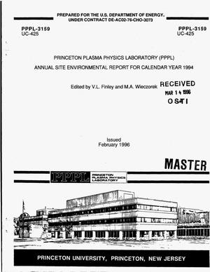 Primary view of object titled 'Princeton Plasma Physics Laboratory (PPPL) annual site environmental report for calendar year 1994'.